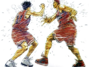 slam dunk sakuragi rukawa high five